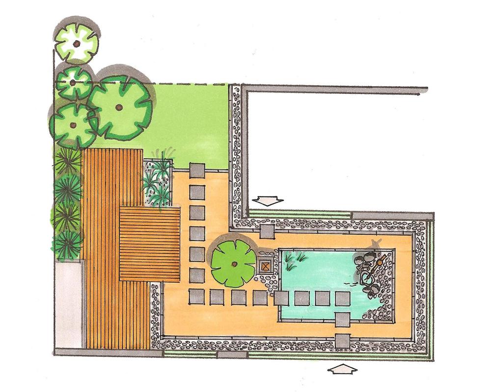 Etudes et plans de thierry dehr cr ateur de jardin contemporain sur mesure for Plan jardin japonais